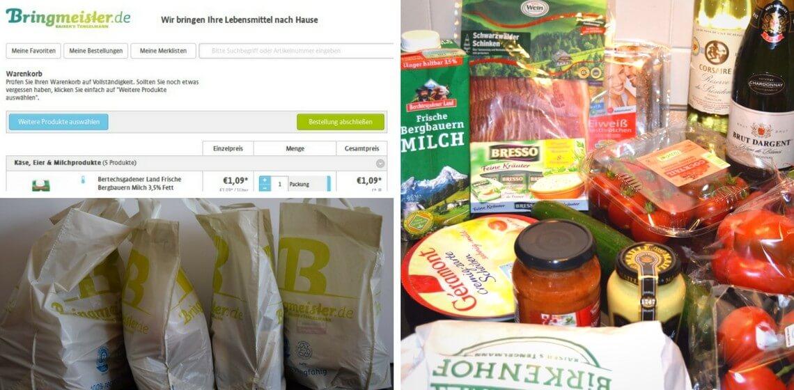 Bringmeister Screenshot-Ausschnitt Warenkorb + Bringmeister-Tüten + gelieferte Lebensmittel