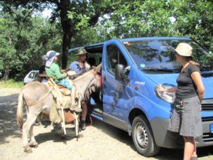 Kind auf Esel oder Muli neben größerem Auto