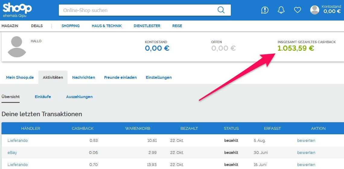 Screenshot Cashback Shoop mit 1053 Euro ausbezahlt