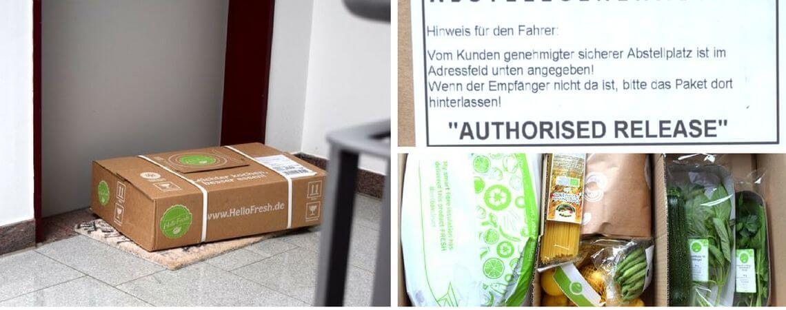 """HeelFresh-Paket vor Wohnungstür mit Aufkleber """"Abstellgenehmigung"""""""