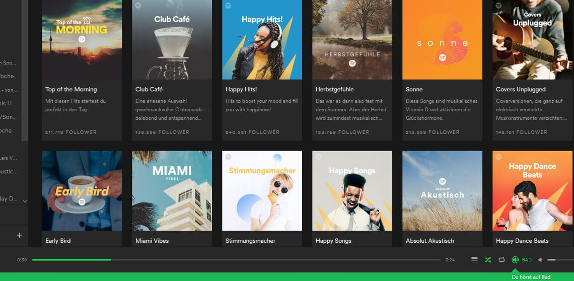 Spotify-Screenshot mit Stimmungs-Playlisten