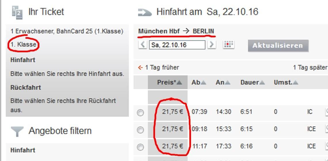 Screenshot DB-Sparpreisfinder mit Sparpreisen München-Berlin
