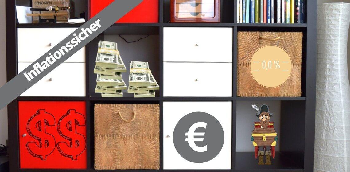 """Ikea-Regal mit Geldscheinen, Dollar und Eurozeichen und Aufschrift """"Inflationssicher"""""""