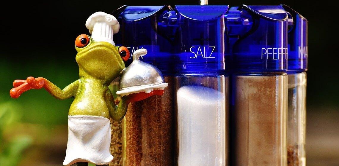 Froschfigur mit Kochmütze steht als Mietkoch neben Gewürzstreuern