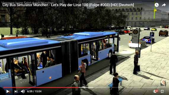 Bus-Simulator Let's Play auf YouTube