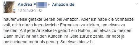 Beschwerde über darüber, dass es nihct auf jeder Artikelseite einen Button gibt, mit dem gefakte Seiten bei Amazon gemeldet werden können