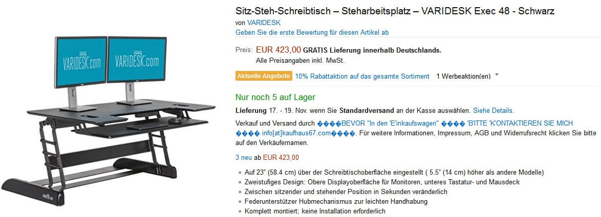 """Amazon-Betrug: Angebot mit Verkäufername """"☻BEVOR """"In den 'E'inkaufswagen"""" ☻ 'B'ITTE 'K'ONTAKTIEREN SIE MICH ☻ info[at]kaufhaus67.com☻"""""""