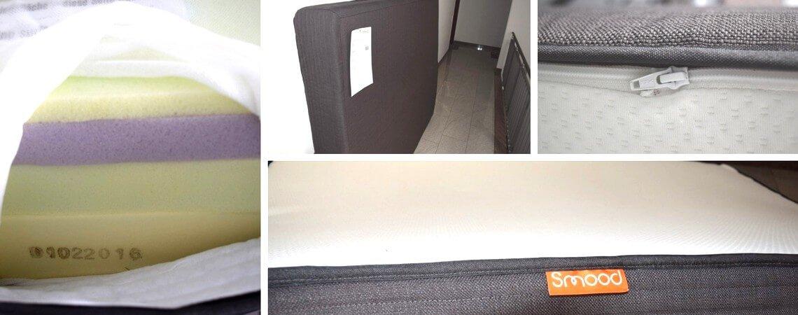 Online gekaufte Smood-Matratze: Innenleben mit verschiedenen Schaumstoff-Schichten; zu Abholung bereitgestellte Matratze