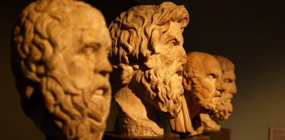 Haben sie den Sinn des Lebens erkannt? Antike Büsten von Philosophen