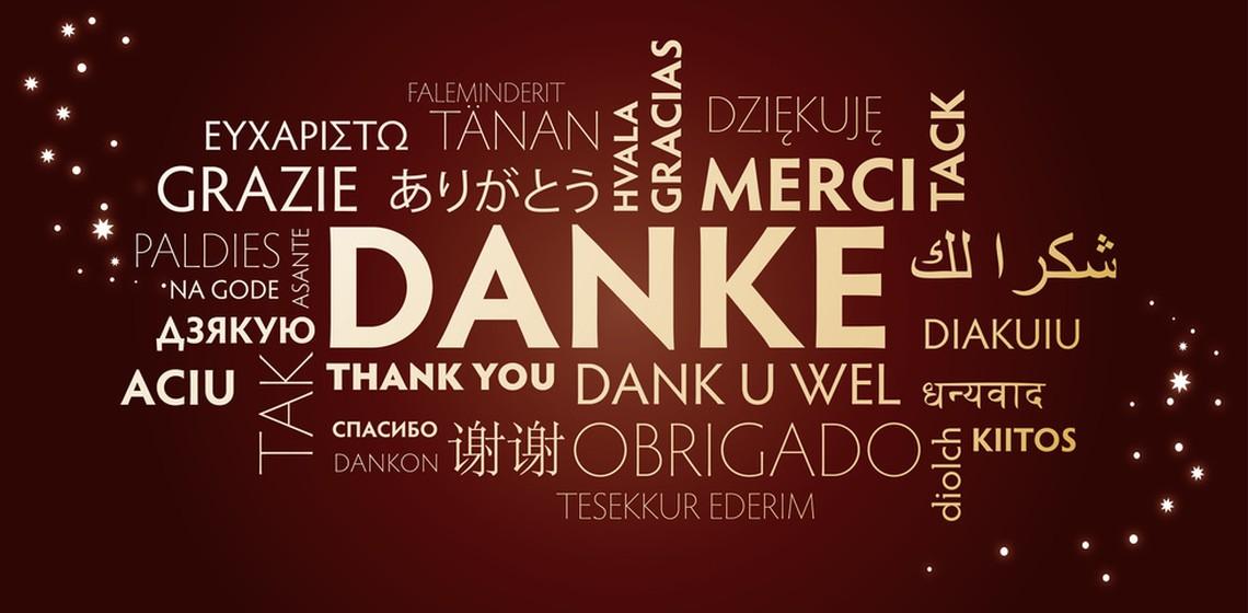 """Das Wort """"DANKE"""" in verschiedensten Sprachen"""