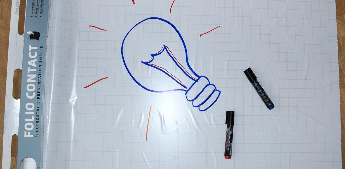 """Selbsthaftende Flipchart-Folie aus dem Schuber gezogen, mit ezeichneter """"Ideen-Glühbirne """"und Flipchart-Stiften"""